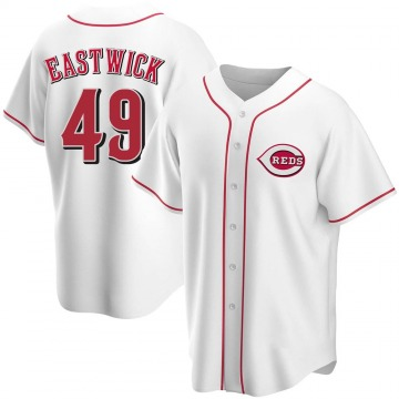Youth Rawly Eastwick Cincinnati Reds Replica White Home Jersey