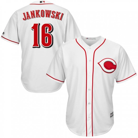Youth Majestic Travis Jankowski Cincinnati Reds Replica White Cool Base Home Jersey